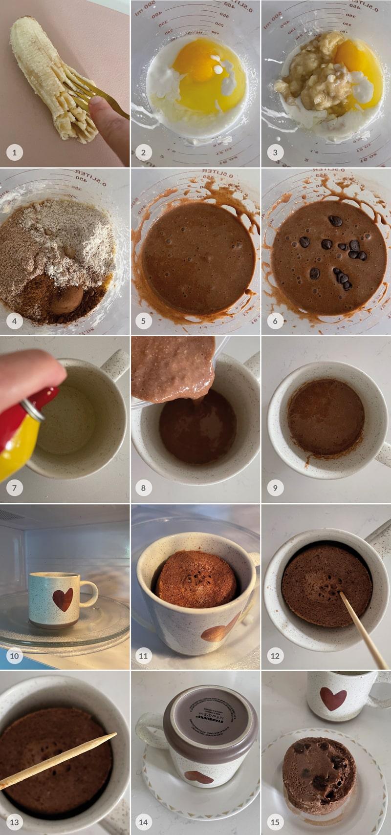 Kakaový mugcake z mikrovlnky - foto postup