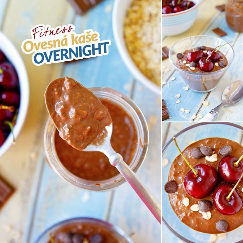 Zdravá ovesná kaše overnight s proteinem a třešněmi - recept Bajola