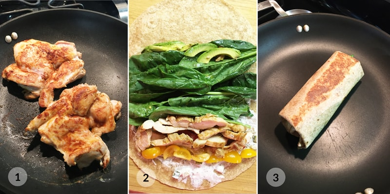 Fitness tortilla burrito s kuřecím masem foto postup