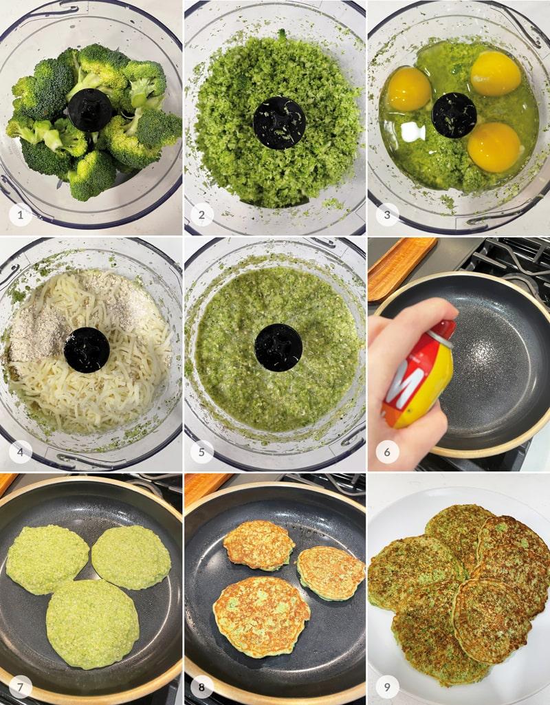 Brokolicové placky foto postup
