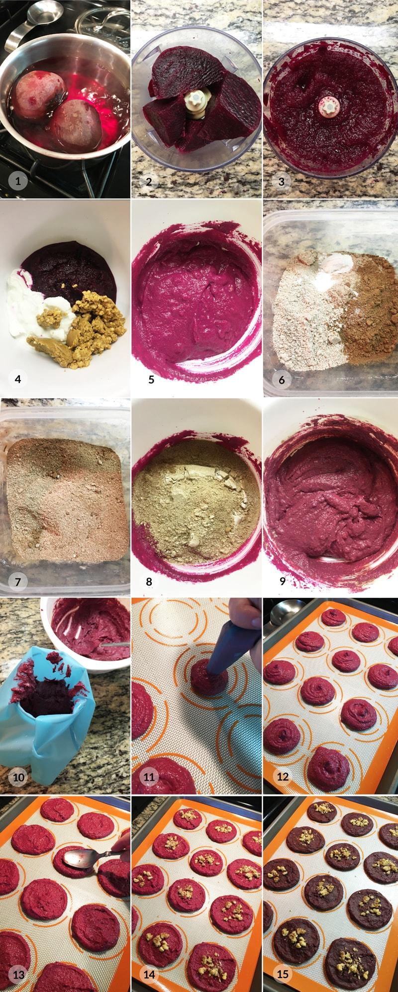 Červená řepa pyré sušenky foto postup