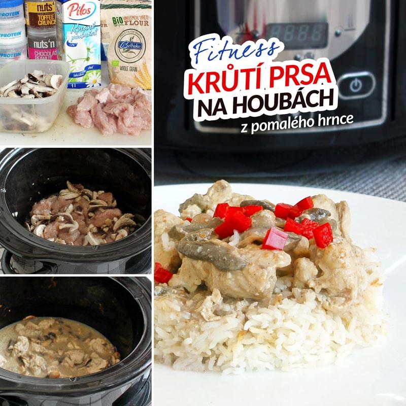 Fitness krůtí maso na houbách z pomalého hrnce - zdravý recept Bajola