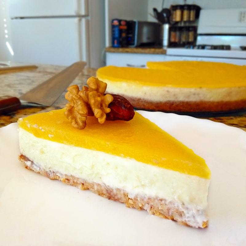 Fitness mangový cheesecake s želatinou - recept Bajola