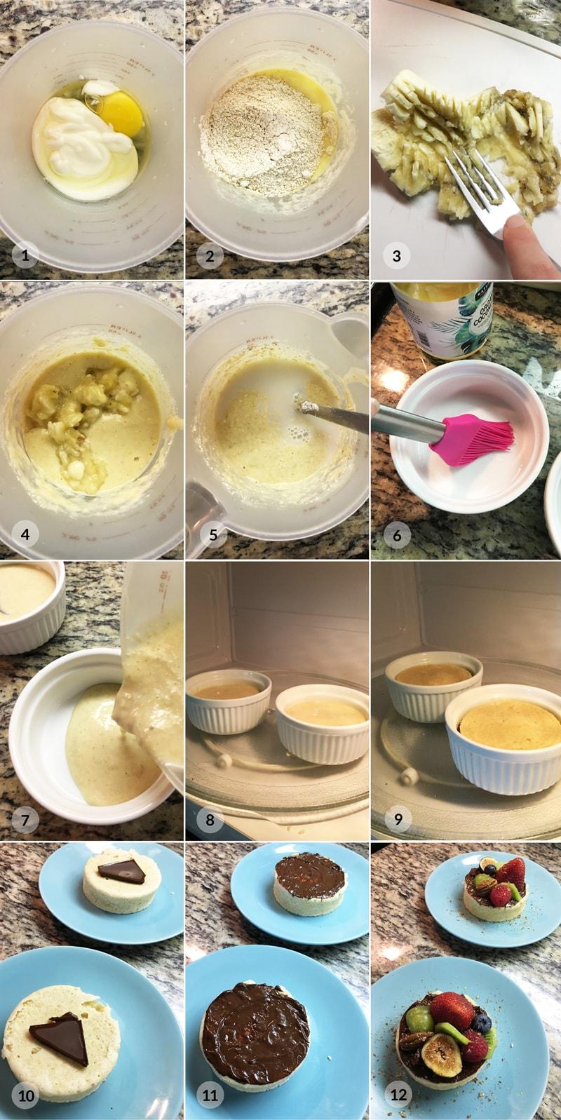 Jogurtový mugcake z mikrovlnky - foto postup