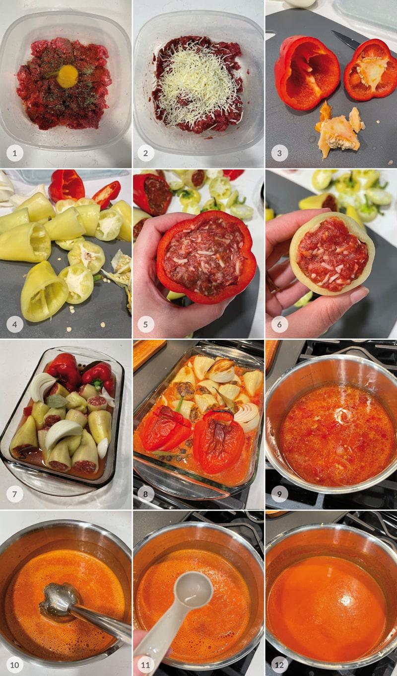 Plněné papriky a rajská omáčka - foto postup