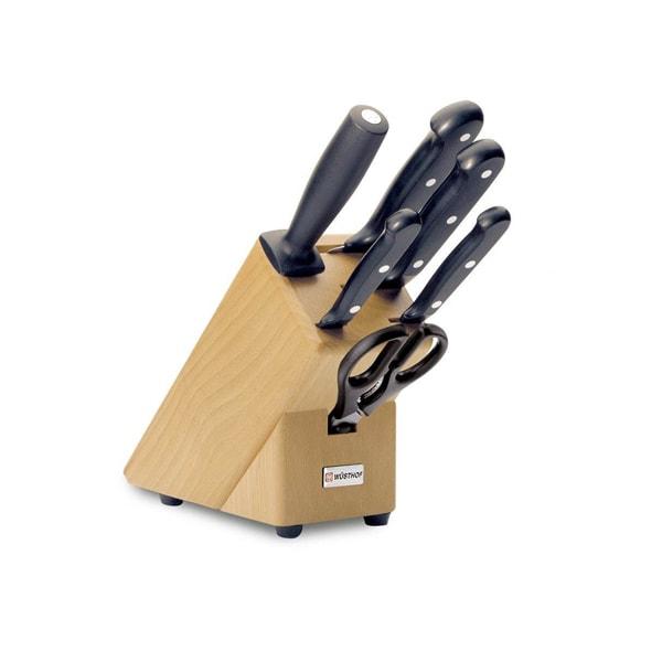 Sada 4 nožů s nůžkami a ocilkou Wüsthof v dřevěném bloku