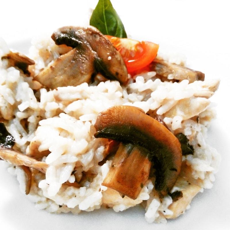 Fitness houbové rizoto s kuřecím masem - zdravý recept Bajola