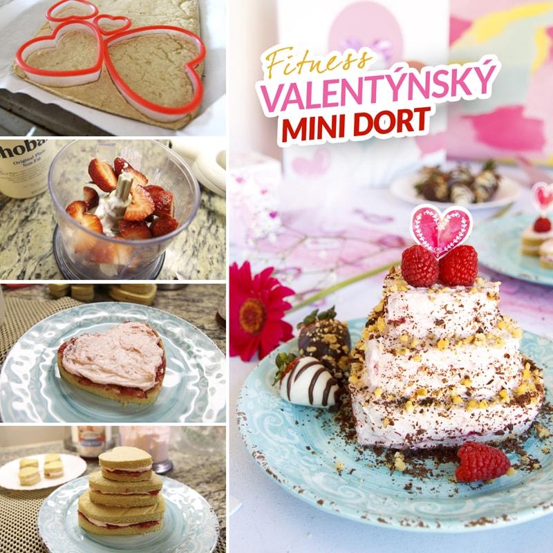 Fitness jahodový mini dort - zdravý recept bajola