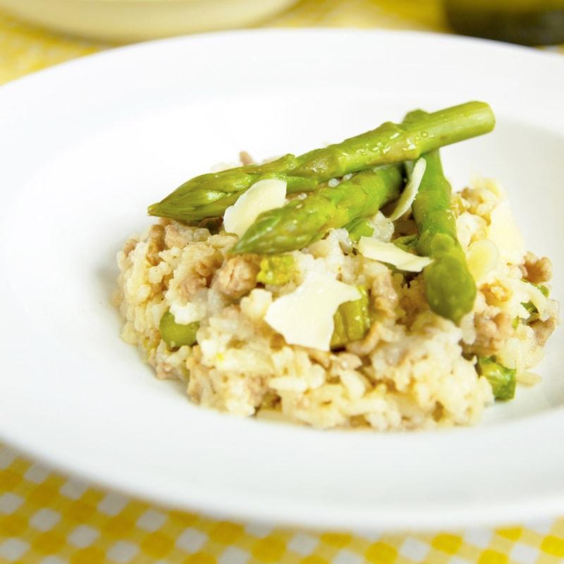Fitness chřestové rizoto s krůtím masem - zdravý recept Bajola