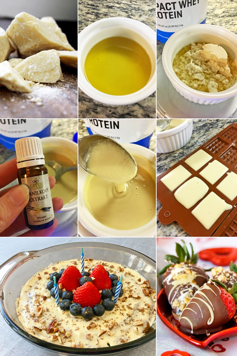 Fitness domácí bílá čokoláda bez cukru - zdravý recept Bajola