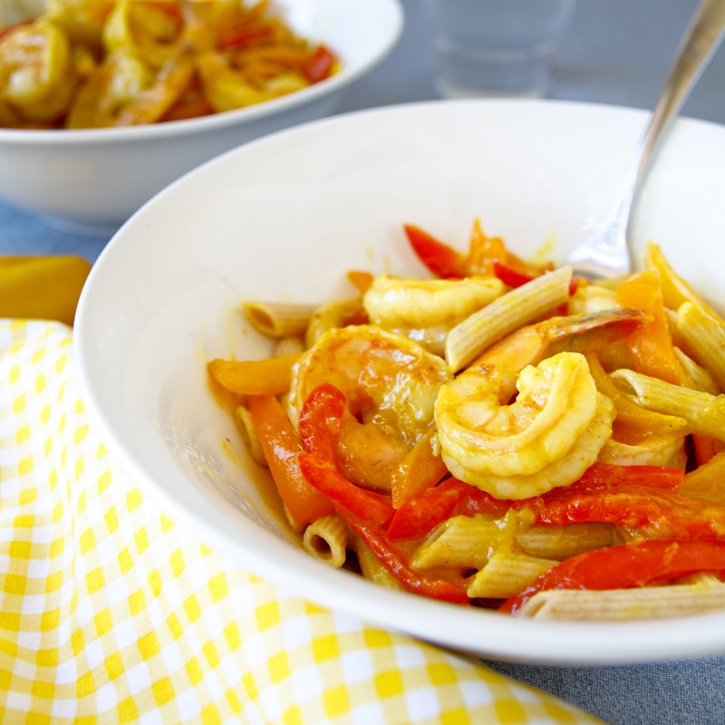 Fitness krevetový salát s mangem na kari - zdravý recept Bajola