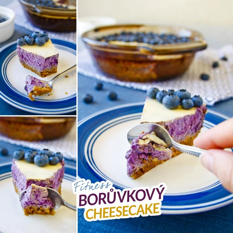 Fitness borůvkový koláč cheesecake - zdravý recept Bajola