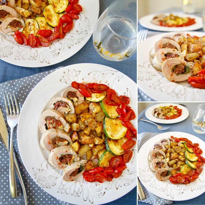 Fitness panenka plněná sušenými rajčaty a špenátem s cuketou