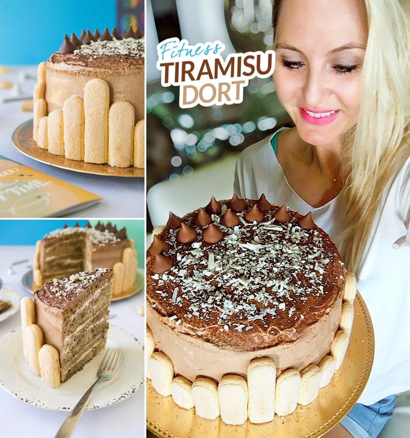 Fitness tiramisu narozeninový dort - zdravý recept Bajola
