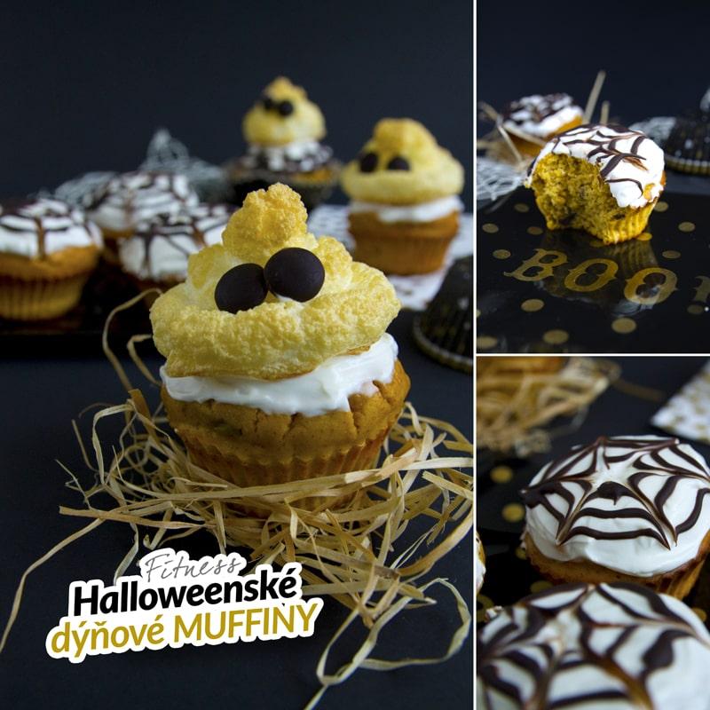 Fitness halloweenské dýňové muffiny - duch