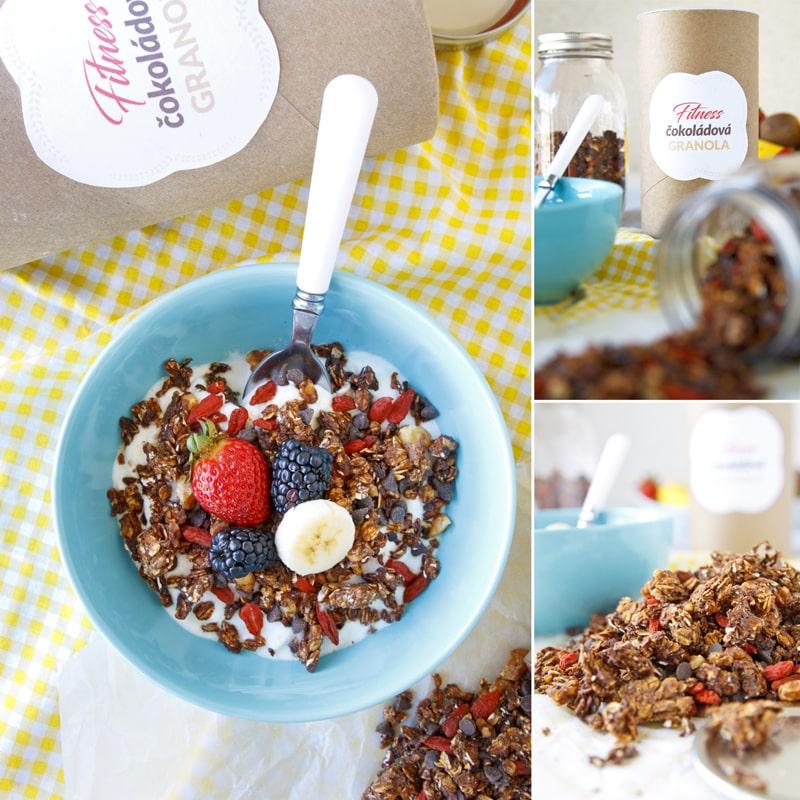 Fitness granola čokoládová - zdravý recept Bajola