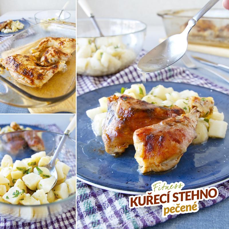 Pečená kuřecí stehna - fitness zdravý recept Bajola