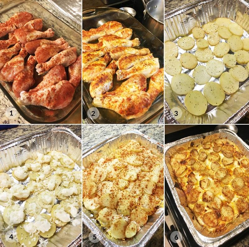 Pečená kuřecí stehna a gratinované brambory postup Bajola