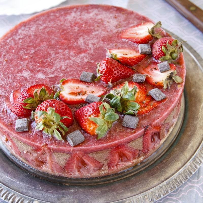Čokoládový dort s jahodami - fitness recept Bajola