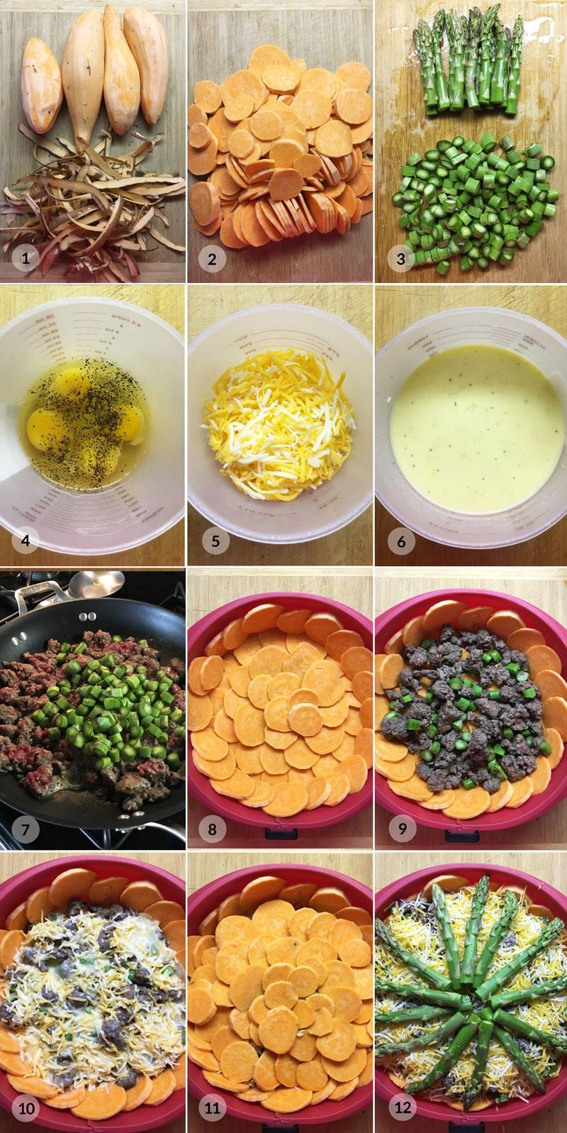 Fit batátový koláč chřest - zdravý recept postup