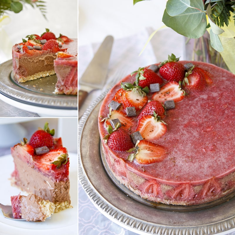 Fit čokoládový dort a jahody - recept Bajola
