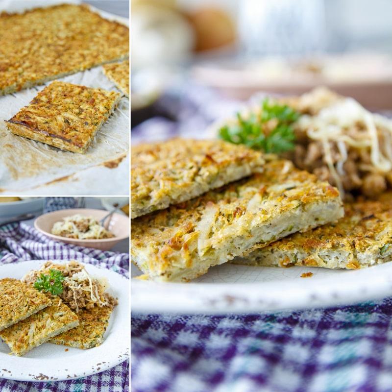 Fitness bramborák na plech s mletým masem a kysaným zelím - zdravý recept - Bajola