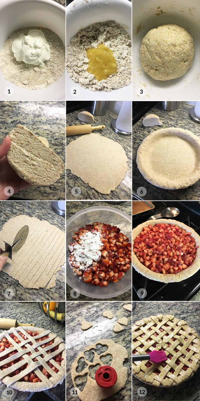 Mřížkovaný jahodový koláč - postup