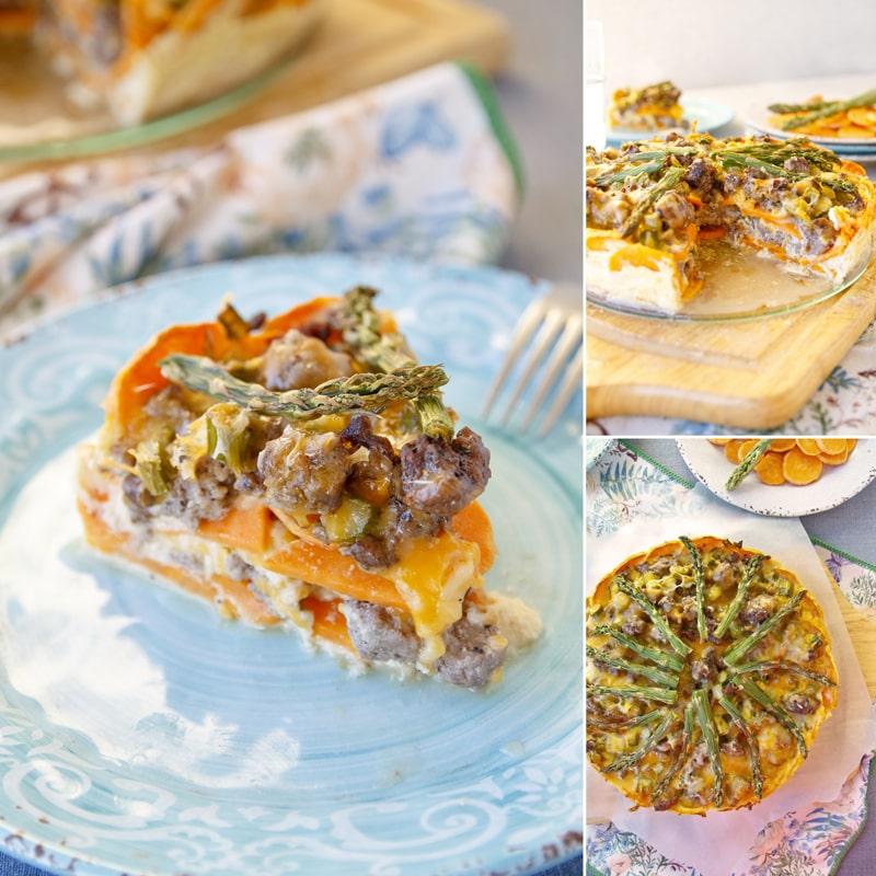 Slaný koláč - batáty chřest fitness zdravý recept
