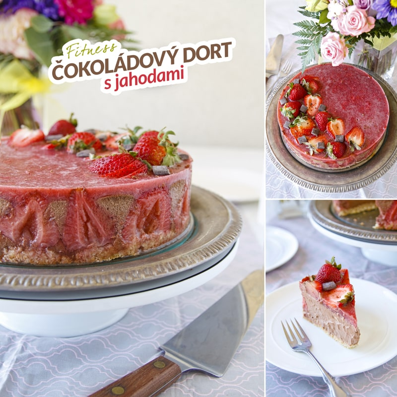 Zdravý čokoládový dort s jahodami - recept Bajola