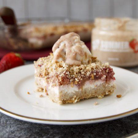 Rebarborový koláč s drobenkou - fitness zdravý recept Bajola