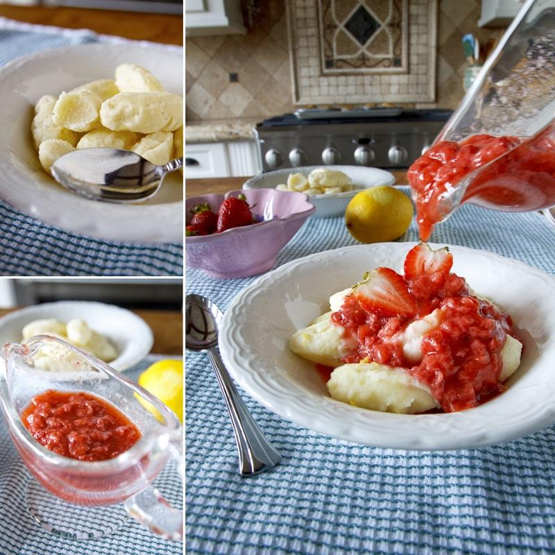 Tvarohové noky s jahodovou omáčkou - recept Bajola