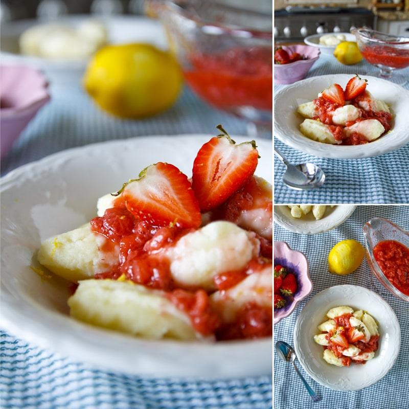 Tvarohové noky s jahodovým přelivem - fit recept Bajola