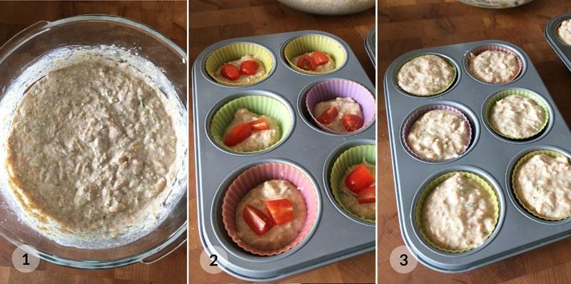 Fitness cuketové muffiny s tuňákem - postup receptu