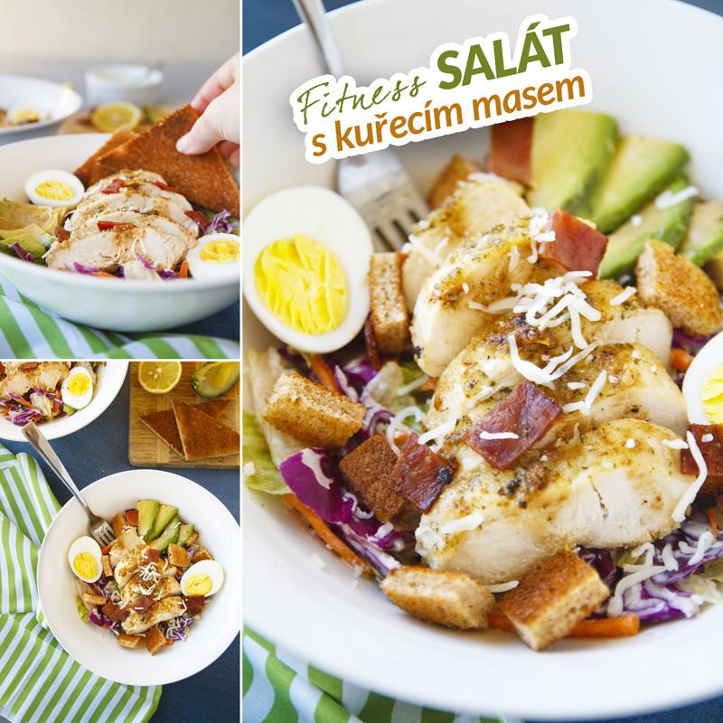 Fitness zdravý salát s kuřecím masem - recept Bajola