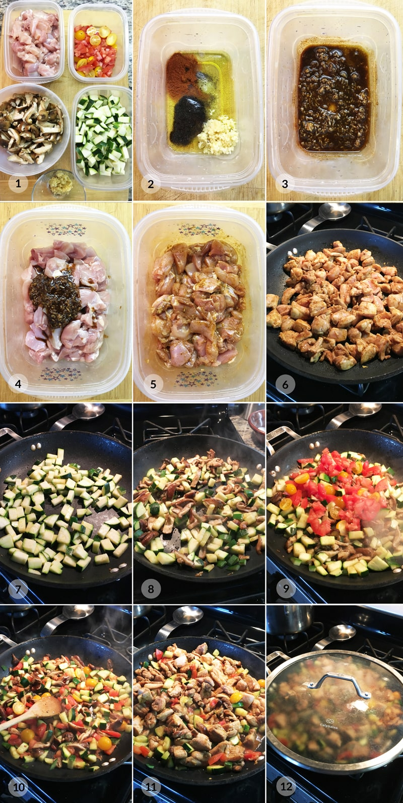 Zdravé kuřecí maso cuketa, houby, rajčata - recept Bajola