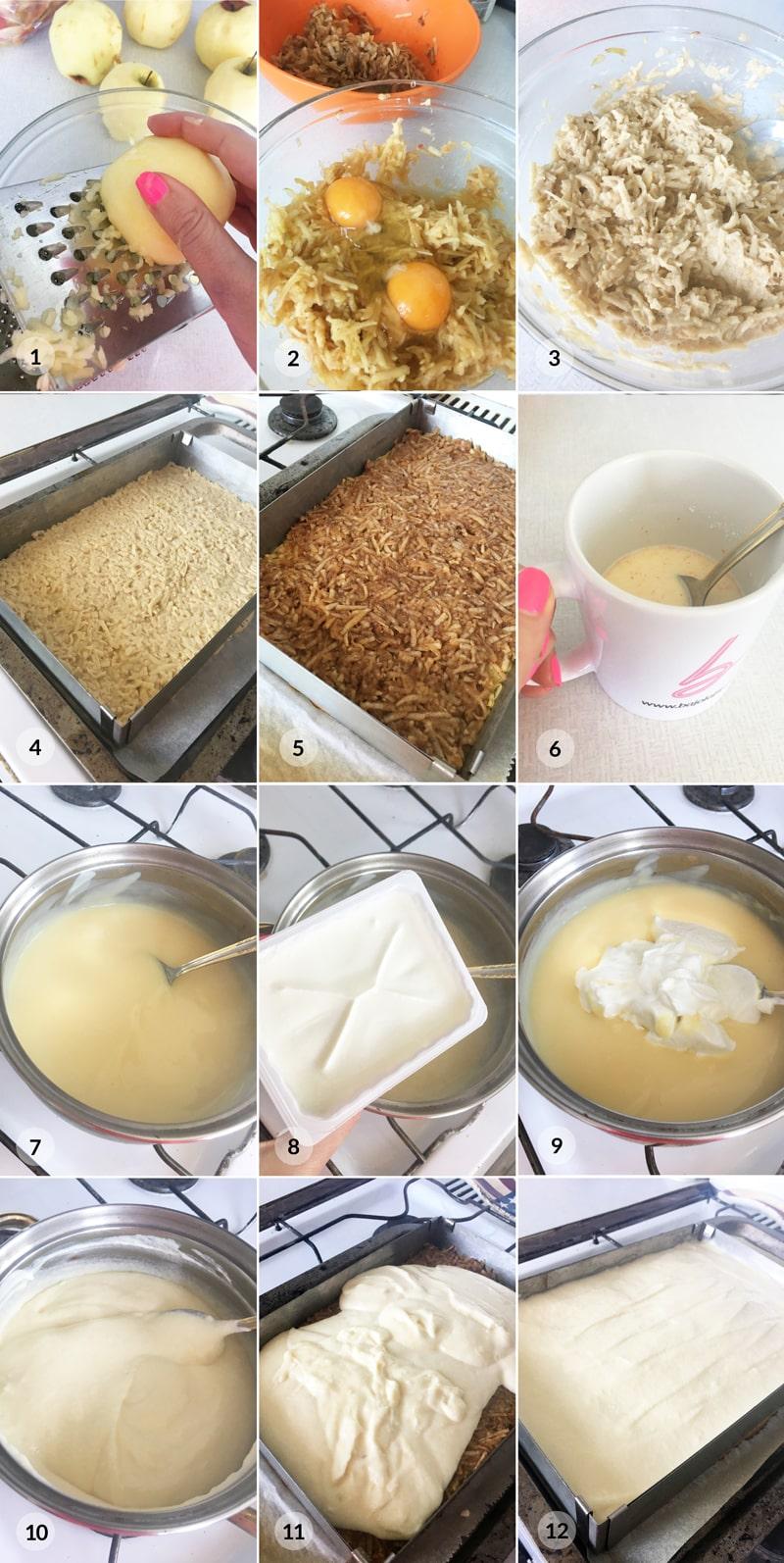 Jablečný řez kremšnit - foto postup receptu