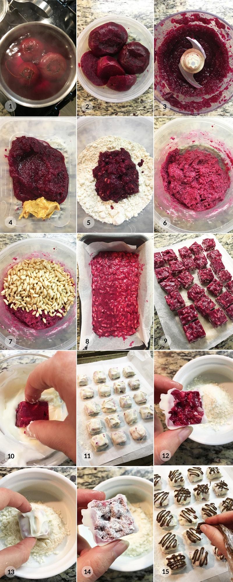 Proteinové pralinky z červené řepy - foto postup