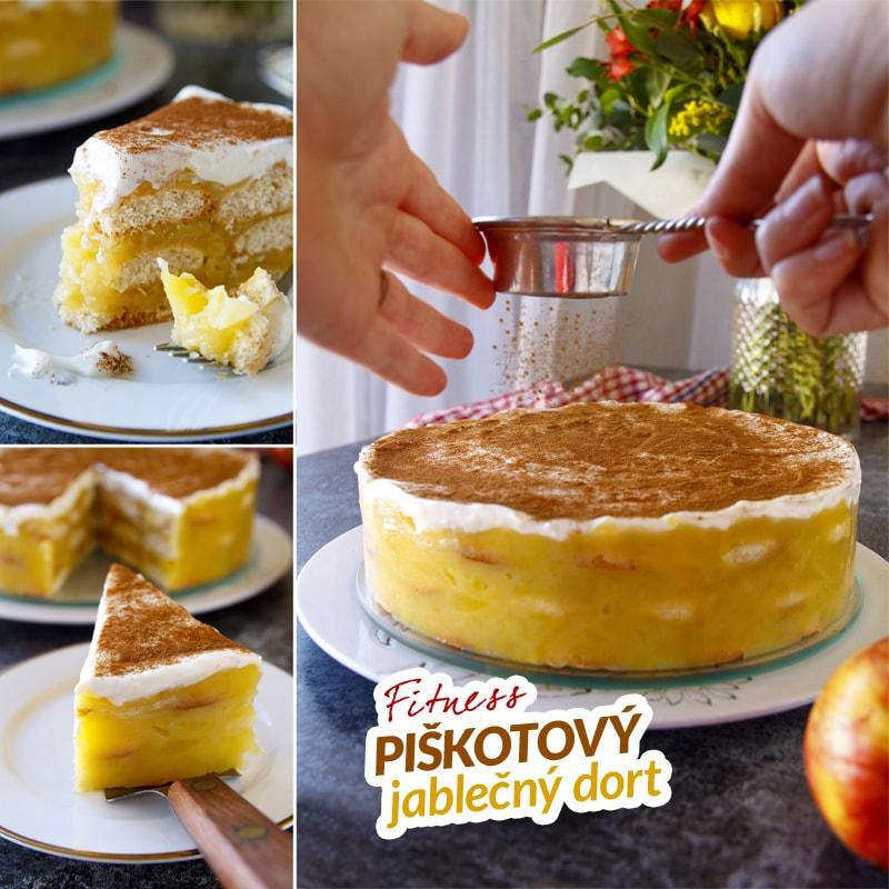 Fit jablečný piškotový dort - recept Bajola