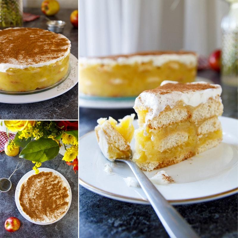 Fit nepečený piškotový dort jablečný - recept Bajola