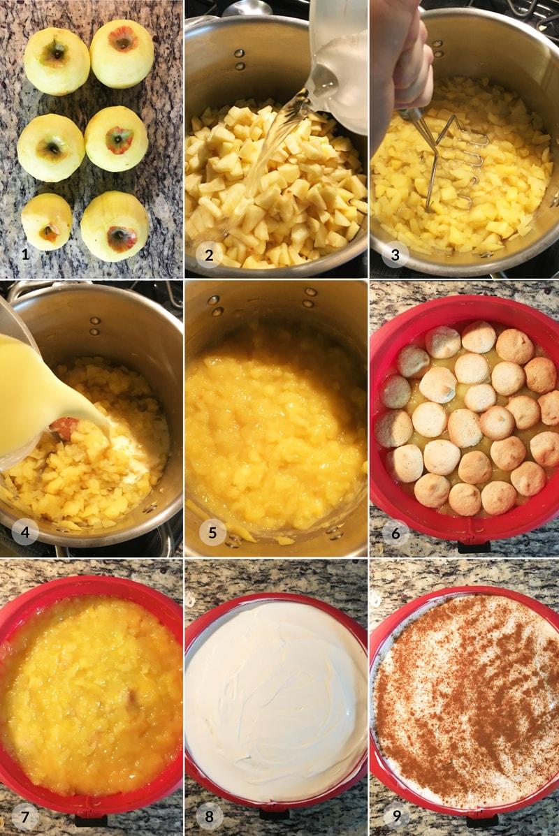 Nepečený dort jablečný piškotový - foto postup