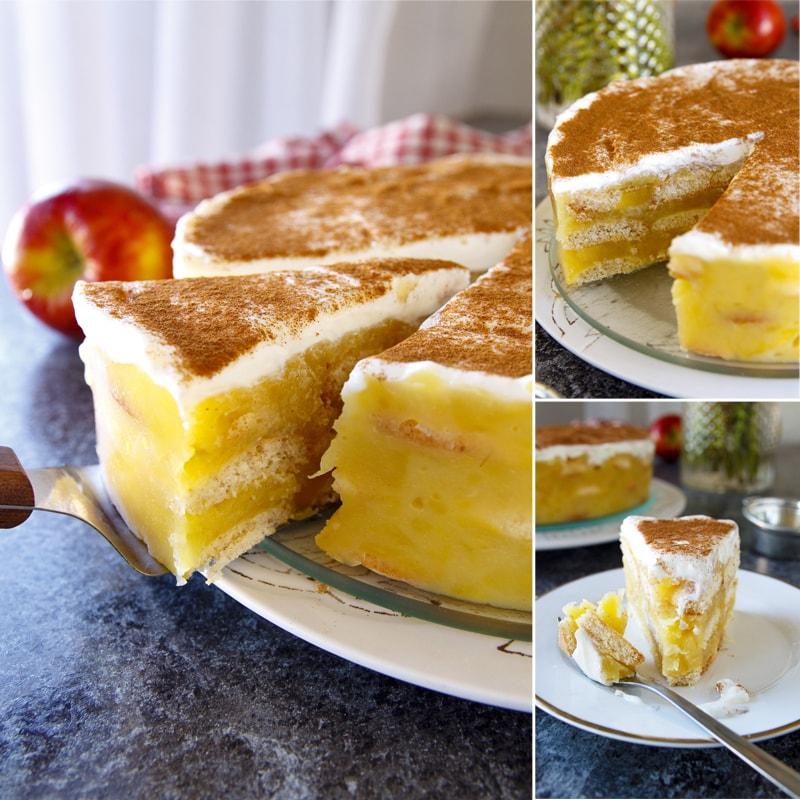 Zdravý piškotový jablečný dort - recept Bajola