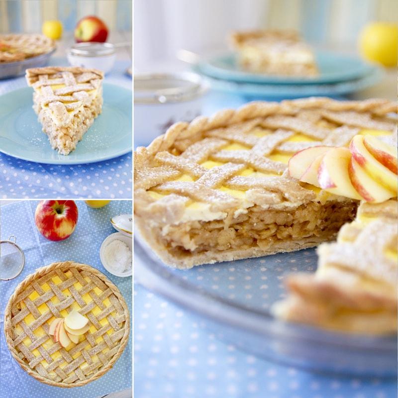 Fit mřížkový jablečný koláč s tvarohem - recept Bajola