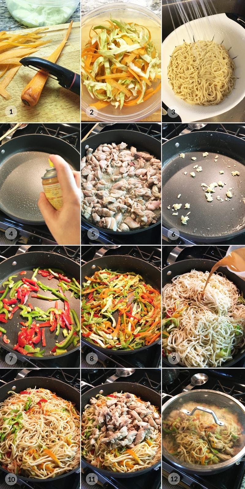 Čínské nudle s kuřecím masem a zeleninou - foto postup