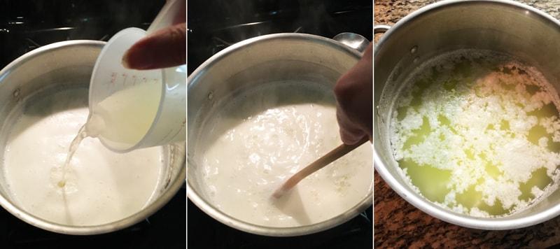 Srážení bílkovin mléka na tvaroh