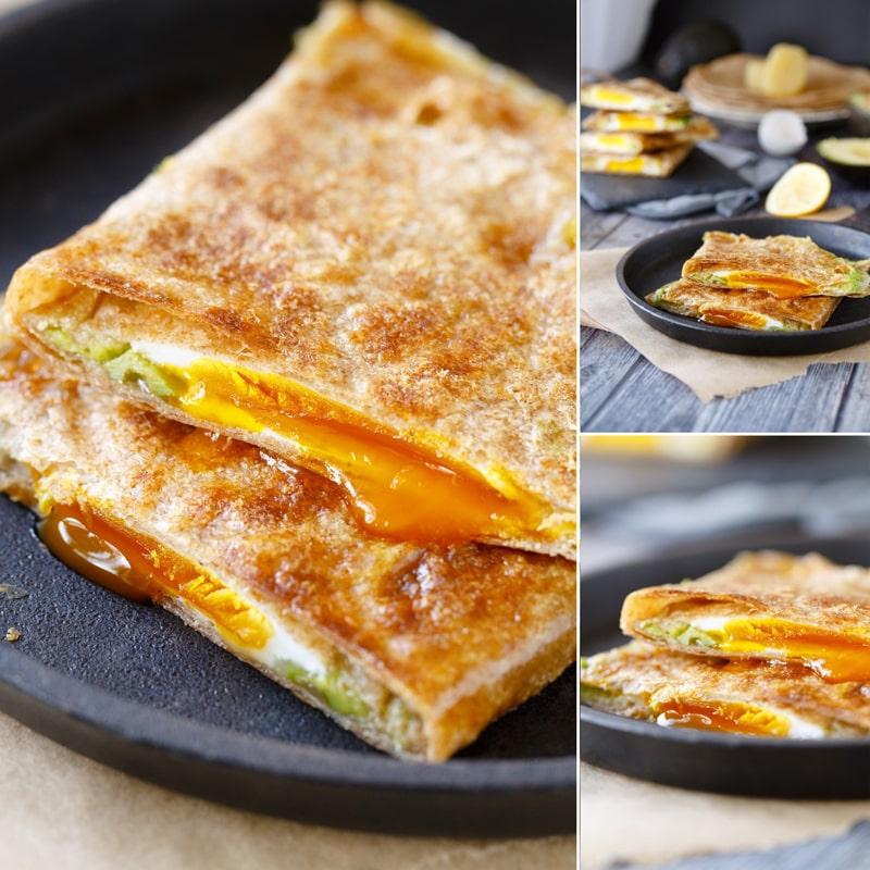 Fit plněná celozrnná tortilla - vejce avokádo sýr šunka - recept Bajola
