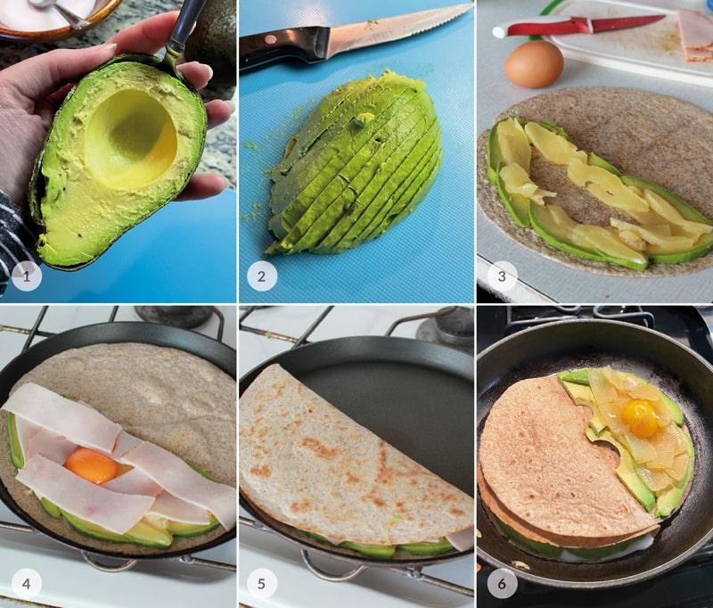 Plněná celozrnná tortilla vejcem a avokádem foto postup