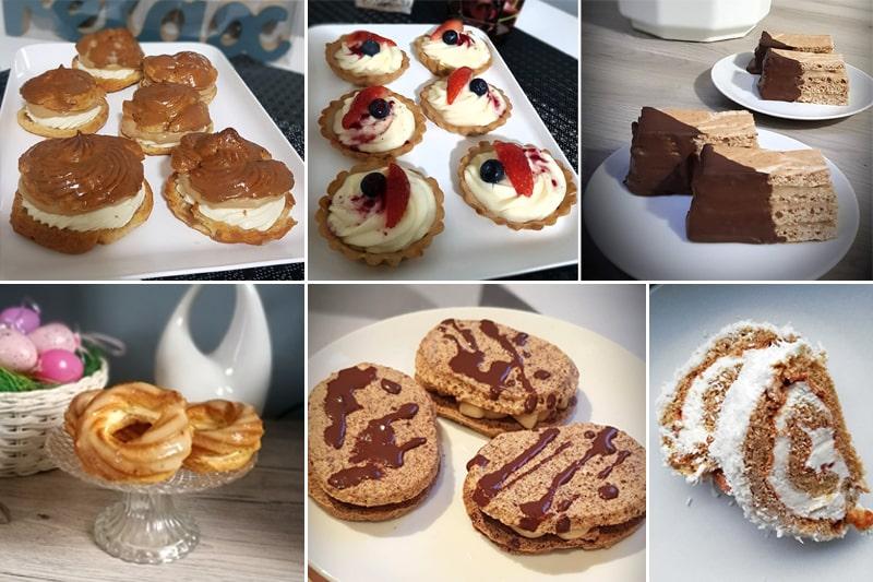 Výtvory podle e-booku Fitness domácí cukrárna - větrníky, ovocné košíčky, štafetky, věnečky, laskonky, kokosová roláda