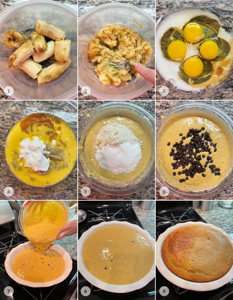 Banánový koláč - foto postup